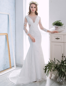 Vestido de noiva sereia em forma de trombeta/sereia gola redonda Lace up Sem Anágua Não Com Cauda com cintura cor de marfim
