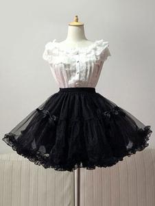 Lolita sottoveste nera monocolore di poliestere fibra di poliestere Tea party classico & tradizionale