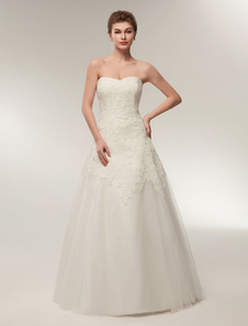 Vestido de Noiva Tomara que Caia em linha-A sem fitas Tomara que caia com renda Cintura Natural Fecho de tule com cintura cor de marfim
