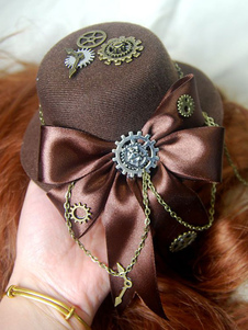 Lolita Copricapo color daino scuro steampunk tweed bicolore Tea party