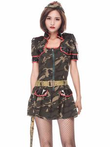 Хэллоуин армейский костюм сексуальные женщины Camo печатные платья и головные уборы 2 шт снаряжение