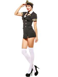 هالوين مثير شرطي زي اللباس الأسود و قبعة الزي