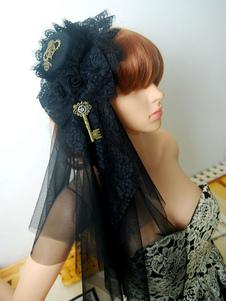 Lolita Acconciatura steampunk in tulle Tea party bicolore nera