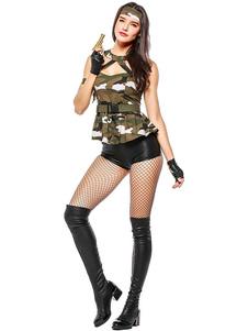 Хэллоуин армейский костюм сексуальный женщин Camo печатных Top и шорты наряд 3 части