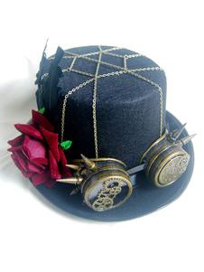 Disfraz Carnaval Sombrero de copa de las mujeres Steampunk Goggle Hat Halloween Costume Black Chain Rivet Flower Hat Carnaval