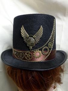 Disfraz Carnaval Disfraz de Steampunk Disfraz de Halloween Sombrero Negro Gear Metal Wings Carnaval