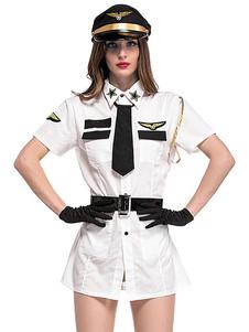 Сексуальная стюардесса Костюм Хэллоуин Воздушные хостесы Женщины Белое платье