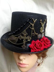 Disfraz Carnaval Sombrero de copa Steampunk Sombrero de Halloween Sombrero de copa de flores negro Carnaval