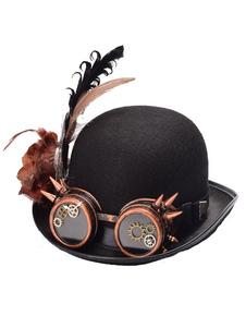 Disfraz Carnaval Steampunk Goggle Hat Disfraz de Halloween Black Feather Gear Rivet Accessories Carnaval