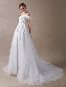 فساتين الزفاف الملونة قبالة الكتف فستان الزفاف المختنق الرباط زين تول رمادي فاتح أثواب الزفاف مع القطار