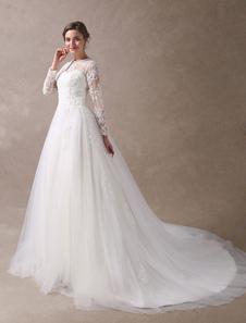 Свадебные платья Платья для принцессы с короткими рукавами с длинным рукавом из кружевной ткани из бисера