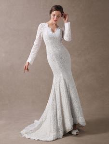 Vestido de noiva sereia em forma de trombeta/sereia decote V com mangas compridas Fecho Sem Anágua Não Com Cauda branca