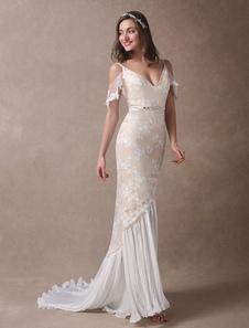 Vestidos De Noiva Boho 2020 Champagne Lace Beach Vestido De Noiva Sereia Decote Em V Costa Aperta Frisada Vestidos De Casamento De Verão