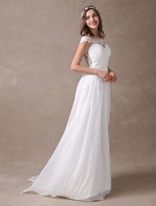 Vestido De Casamento 2020 Marfim Rendas Chiffon Praia Vestido De Noiva Querida Decote Ilusão Sem Mangas De Verão Vestido De Casamento Com Cauda