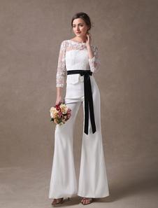 Pantaloni da Sposa in raso cintura a colonna avorii