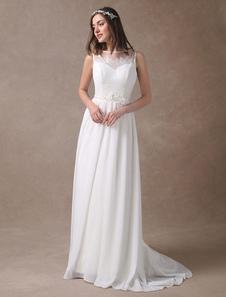 Vestido de noiva praia em linha-A com cinto Cintura Natural Sem costas Com Cauda decote V sem mangas com cintura cor de marfim
