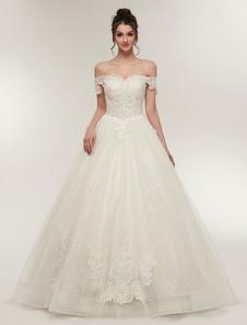Принцесса Свадебные платья с плеча слоновая кость Свадебные платья Кружева Аппликация Тюль Длина пола бальное платье