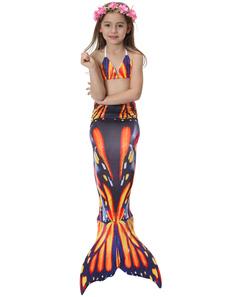Disfraz de niños Carnaval Disfraz de cola de sirena para niños Niñas con bañador naranja estampado Disfraz Carnaval