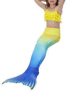 Disfraz de niños Carnaval Cola de Sirena Disfraz de Niños 2020 Chicas pequeñas Trajes de Baño Amarillo Tresillo en Niveles Traje de Baños Disfraz Carnaval