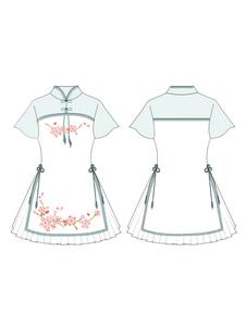 Vestido Lolita Festa de Chá com mangas curtas de algodão misturado Estilo china com dois tons conjunto Verde Menta