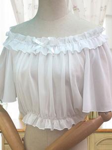 Sweet Lolita Blouse Ruffle Bow White Chiffon Lolita Вверх