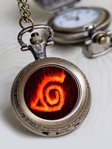 Carnaval Reloj de bolsillo Naruto Konoha Quartz Anime Cosplay Prop