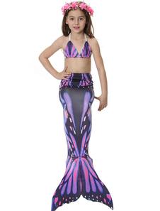 Disfraz de niños Carnaval Disfraz de Niños Cola de Sirena 2020 Morado Estampado Trajes de Baño Disfraz Carnaval