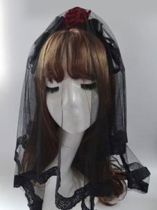 Lolita Acconciatura nera gotica in tulle bicolore Tea party