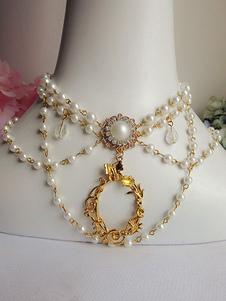 Lolita collana bianca dolce bicolore Tea party con decori in metallo&perle in lega d'acciaio