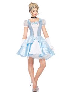 هالوين زي مثير الأميرة سندريلا أكوا النساء فساتين قصيرة والقفازات الزي
