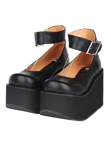 Clásico Lolita Zapatos Tobillo Correa Hebilla Square Toe Plataforma Negro Lolita Flatform