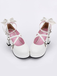 Sweet Lolita Shoes Bow Strappy Round Toe Platform Белые лолиные каблуки