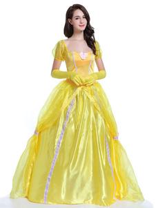 Traje de conto de fadas sexy de poliéster para adultos de fibra poliéster princesa amarelo feminino