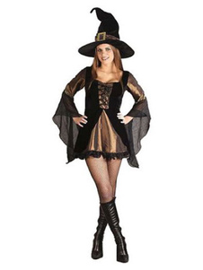 Fantasia femenino para adultos de poliéster Bruxa estampada conjunto de fibra poliéster preta