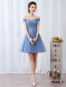 Короткие платья выпускного вечера с платьем выпускного вечера Baby Blue Tulle Pleated Sash Cute Homecoming Dresses