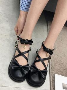 Zapatos de lolita de PU de puntera redonda con lazo para ocasión informal
