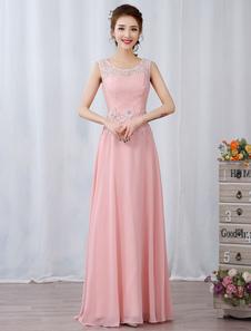 Vestidos de baile 2020 longos Vestidos de festa rosa suaves Vestidos de chiffon formal com um buraco de lágrima na forma de um aplique