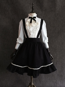 Классическая Lolita SK Маленькая черная шифонная обрезная черная юбка Lolita