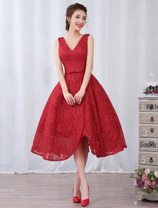 Vestido de fiesta barato de línea A hasta la pantorrilla con cuello en V sin mangas De banda de encaje rojo para baile