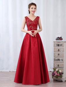 Vestido de fiesta barato de línea A hasta el suelo con cuello en V sin mangas De banda de encaje rojo para baile