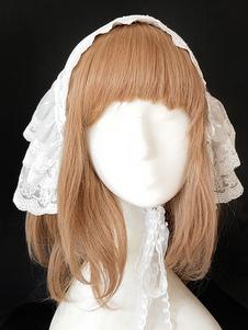 الحلو لوليتا غطاء للرأس انفانتا السكر وماتشا الرباط الكشكشة الأبيض لوليتا العصابة