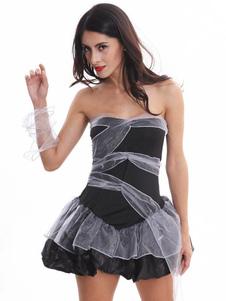 Traje de noiva cadáver Halloween preto Strapless mulheres vestidos curtos