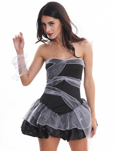 Disfraz Carnaval Disfraz de novia cadáver Halloween negro sin tirantes mujer vestidos cortos Carnaval