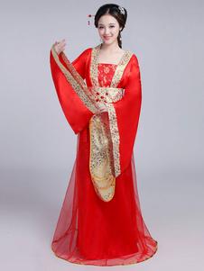 Китайский костюм Традиционные женские красные атласные женщины Hanfu Dress Ancient Tang Dynasty Clothing 3 шт.