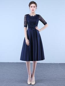 Коктейльные платья Темные морские кружевные атласные короткие платья для вечеринок