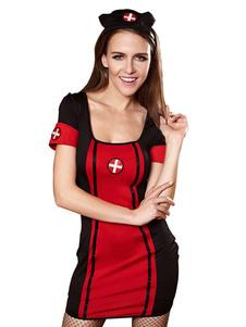 Костюм медсестры Сексуальная Хэллоуин Женщины Черная оболочка Короткие платья и головные уборы