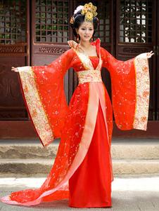 Costume Carnevale Costume tradizionale cinese femminile rosso antico abito Hanfu Tang Dynasty Abbigliamento 3 pezzi