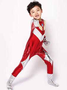 هالوين Ultraman زي أطفال أحمر بنين طويل بذلة