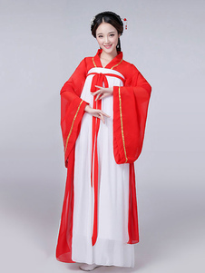 Китайский традиционный костюм Женский красный шифон женщин Hanfu платье Древняя одежда династии Тан 3 части