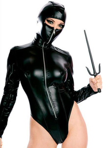 Costume Carnevale Tuta Shiny di Halloween Costume da Ninja nero
